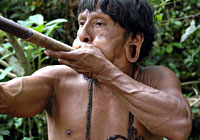 Huaorani with Blowgun